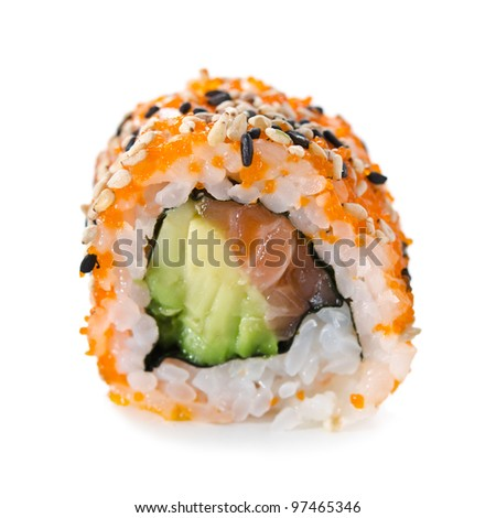 Closeup of a sushi roll isolated on white.