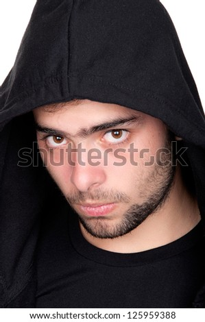 Closeup of a teenager wearing a hoodie, underlit