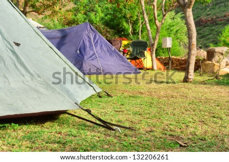 Closeup of a tent - morning light. Shot in Gifberg Mountains, near Wanrhynsdorp, Western Cape, South Africa.