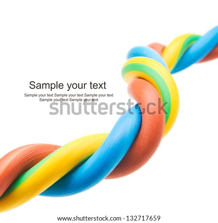 closeup of a three-phase electric cable on a white background