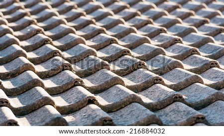 Closeup of a tiled roof in early morning light. #216884032