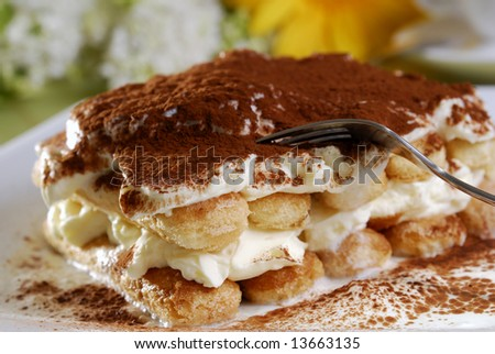 Closeup of a tiramisu on a plate