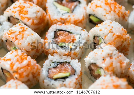 Sesame and fish eggs sushi Images and Stock Photos - Avopix com