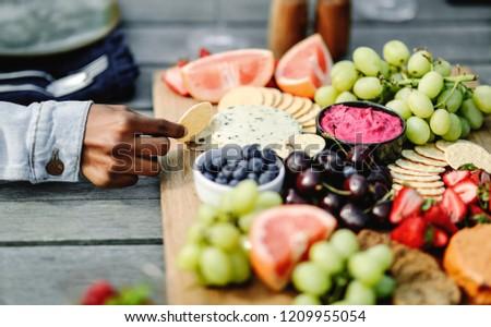 Closeup of a vegan cheese and fruit platter ストックフォト ©