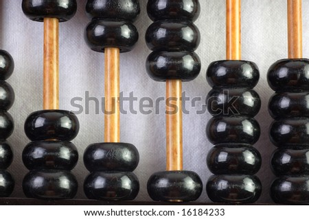 Closeup of a vintage abacus.