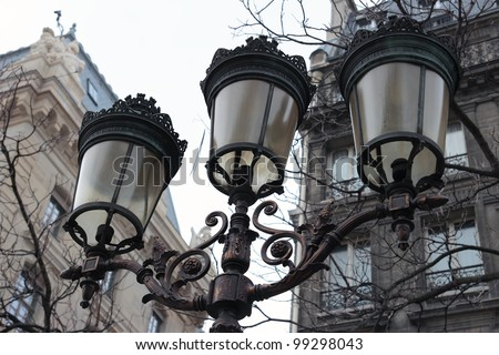 Closeup of a vintage Street light in Paris, France