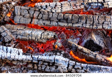 Closeup of a warm fire burning in a fireplace - stock photo