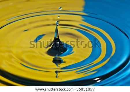 closeup of a water splash in yellow and blue tones