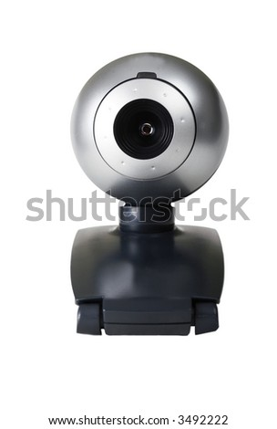 Closeup of a webcam isolated on white