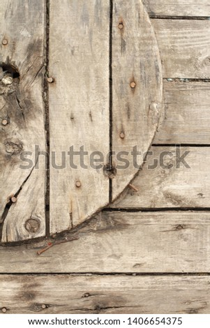 Closeup of a wooden coil for a cable and cable, background or concept. #1406654375