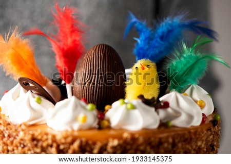 closeup of a young man carrying a spanish mona de pascua, a cake eaten on Easter Monday, ornamented with a chocolate egg, a plush chick and feathers of different colors Foto stock ©