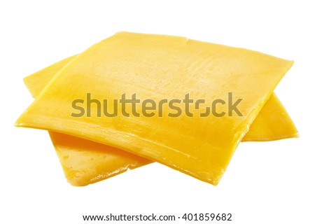 Closeup of American cheese slices on white background