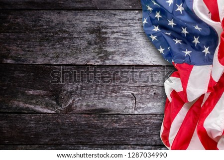 Closeup of  American flag on background #1287034990