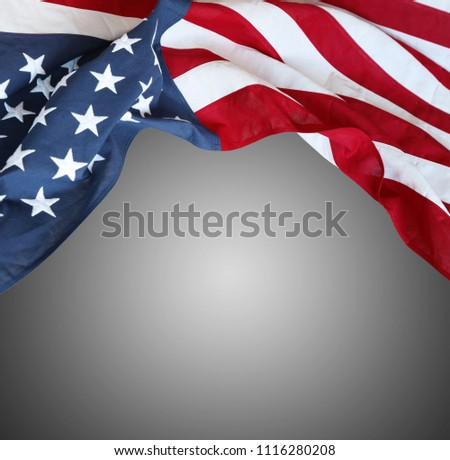 Closeup of American flag on grey background #1116280208