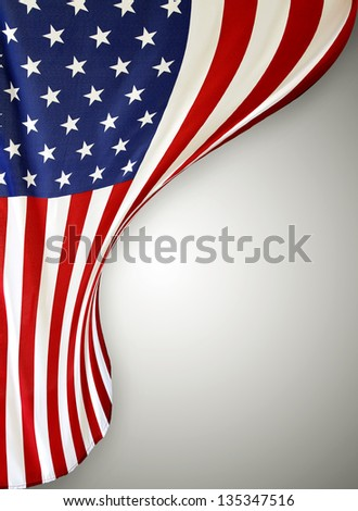 Closeup of American flag on plain background #135347516