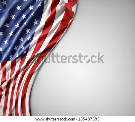 Closeup of American flag on plain background #135487583