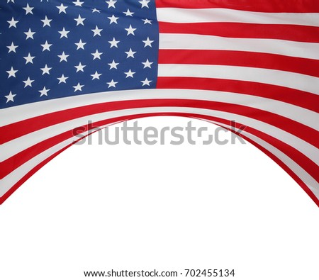 Closeup of American flag on plain background #702455134