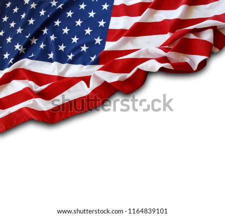 Closeup of American flag on white background #1164839101