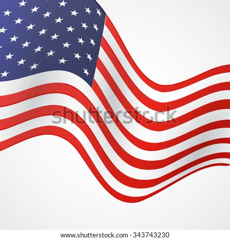 Closeup of American flag on white background #343743230