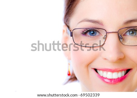 Closeup of an adorable happy woman wearing glasses