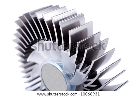 Closeup of an alluminium round cpu cooler isolated on white. Shallow depth of field. Focus on first plane.