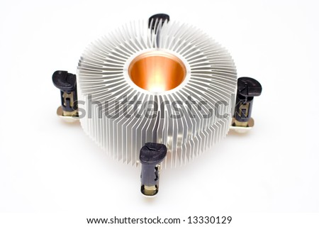 Closeup of an aluminum round cpu cooler isolated on white.
