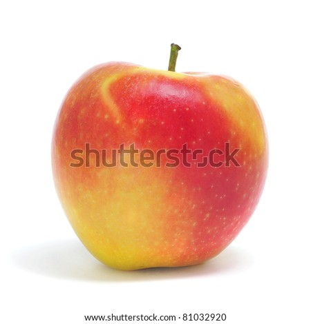 closeup of an apple on a white background