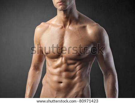 Closeup of an attractive man's chest - stock photo