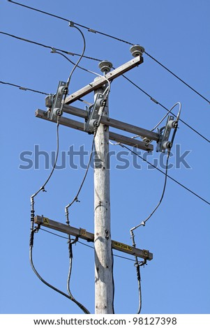 closeup of an electrical pylon over blue sky