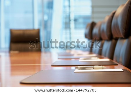 closeup of an empty conference...