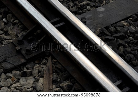 Closeup of an old railway junction