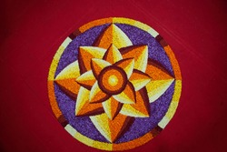 Closeup of an Onam pookalam or Athappokkalam,( floral carpet)typical flower decoration of Kerala.