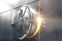 Closeup of an open bank vault door with golden light peeking from inside. 3D Render