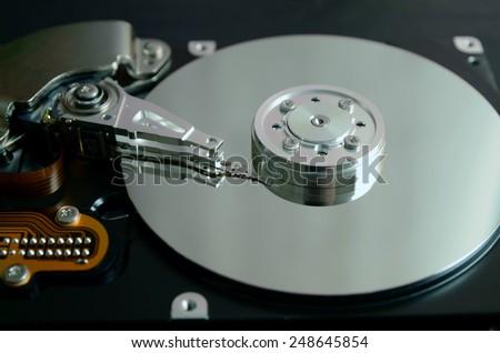 Closeup of an open computer hard drive #248645854