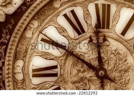 Closeup of antique clock of the eighteen century