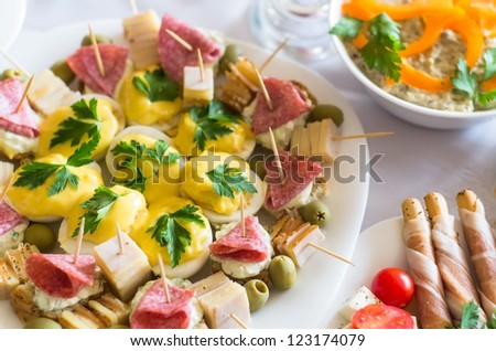 closeup of appetizers with shallow depth of field