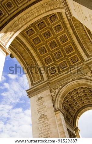 Closeup of Arc De Triomphe, Paris
