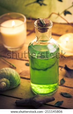 Closeup of aromatic massage oil - an element of wellness