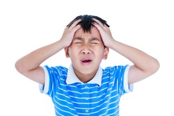 Closeup of asian child has a headache, his hand on temple, emotion feeling sign. Isolated on white background. Boy with a painful gesture. Negative human emotion, facial expression feeling reaction.