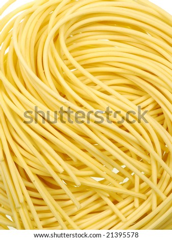 Closeup of Asian dried wheat noodles - stock photo
