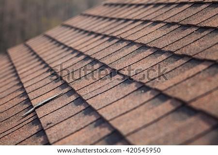 Closeup of asphalt shingles
