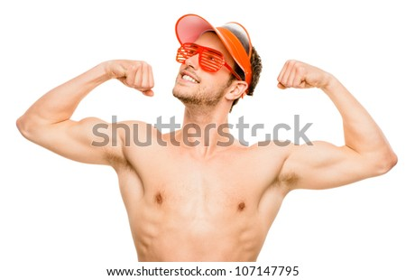 CLoseup of attractive young man flexing bicep muscles on white background