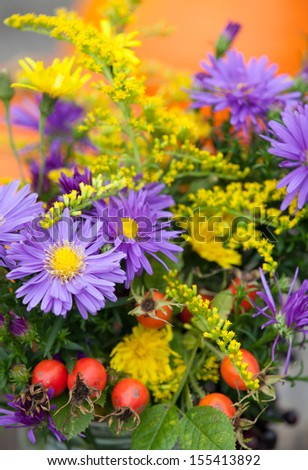 Closeup of autumn flowers and fruits