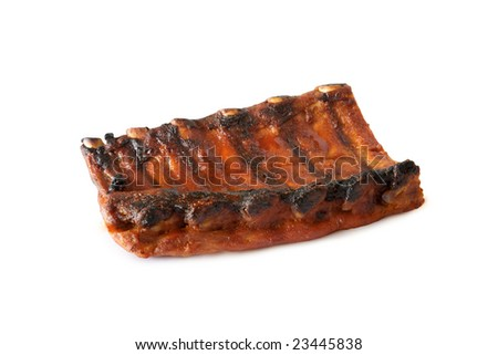 Closeup of barbecued pork ribs