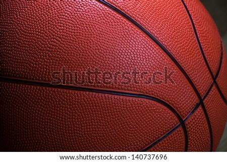 closeup of basketball ball texture