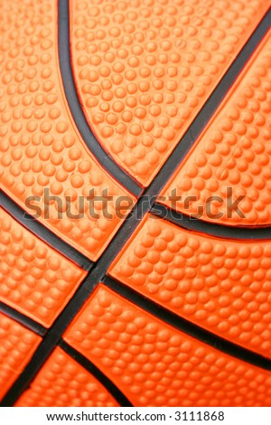 Closeup of basketball showing texture and lines.