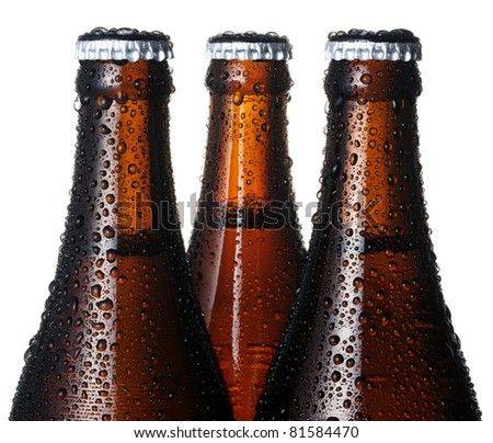 Closeup of beer bottles