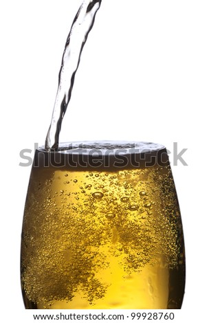 Closeup of beer glass. - stock photo
