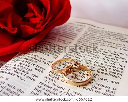 stock photo Closeup of Bible wedding rings