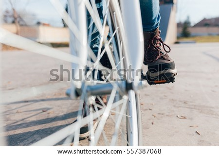 Closeup of bicycle riders are ready #557387068